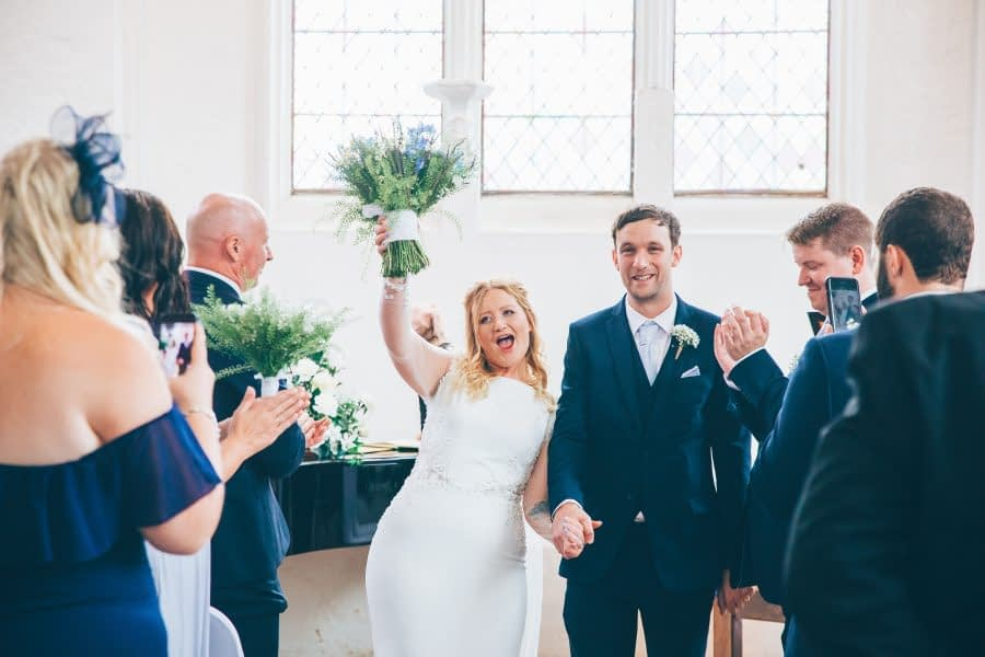 Lovekyn Chapel, Surrey Wedding, Couple, Just Married, Happy Couple