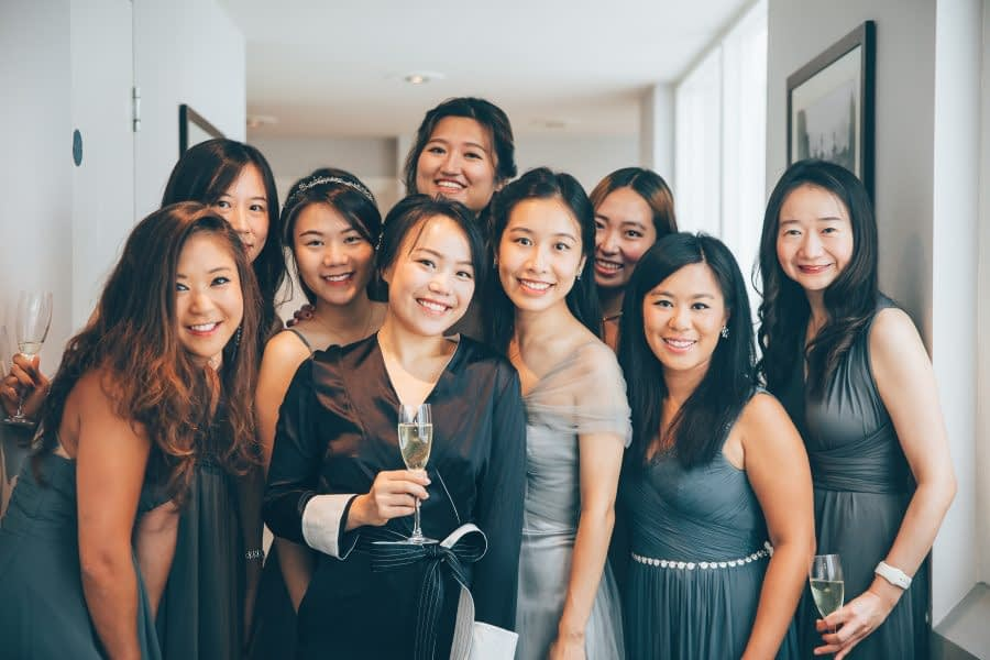 Group Photo of Bridesmaids at Kew Gardens Wedding