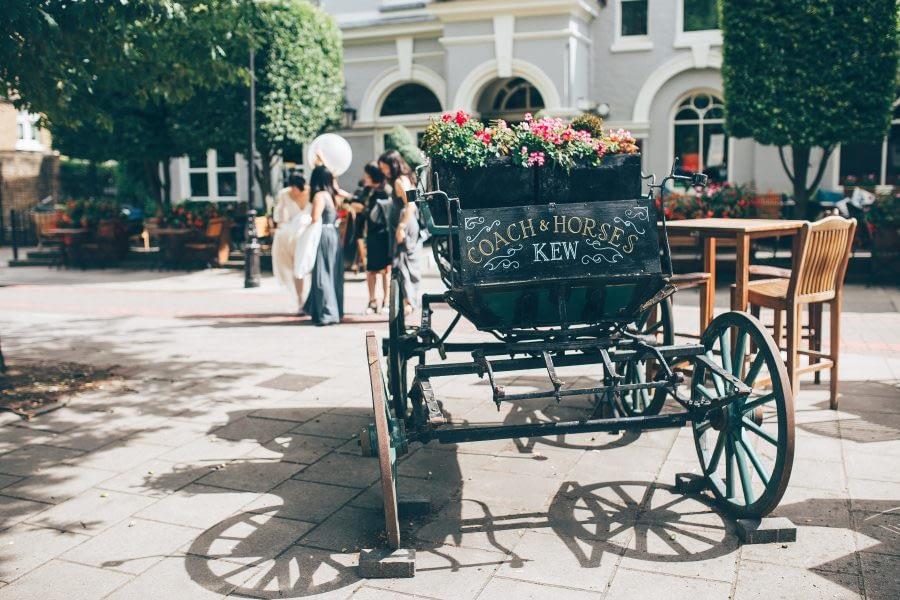 The Coaches and Horse, Kew Green, Kew Garden Wedding Photographer