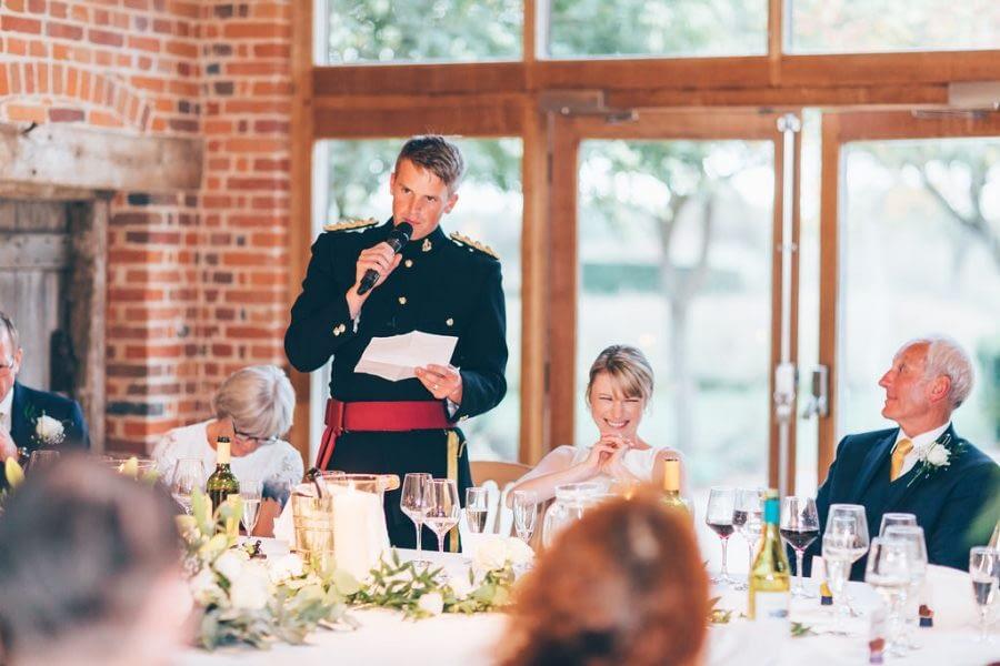 speeches, wedding group photo, bury court barn wedding photographer, female wedding photographer richmond, surrey wedding photographer